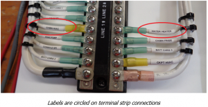 Labels are circled on terminal strip connections