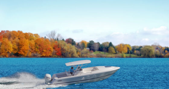 Boat on lake – fall boating